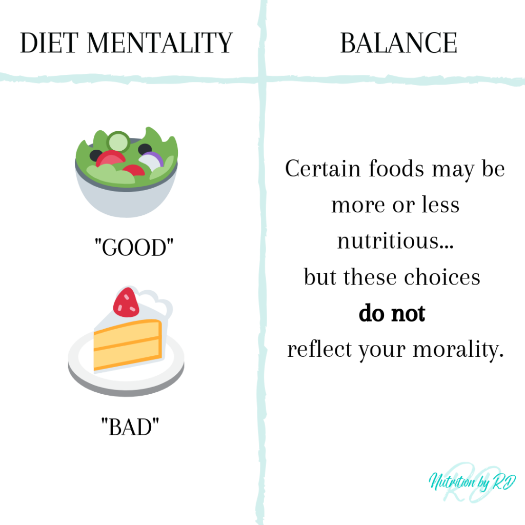 Labeling food as good vs. bad